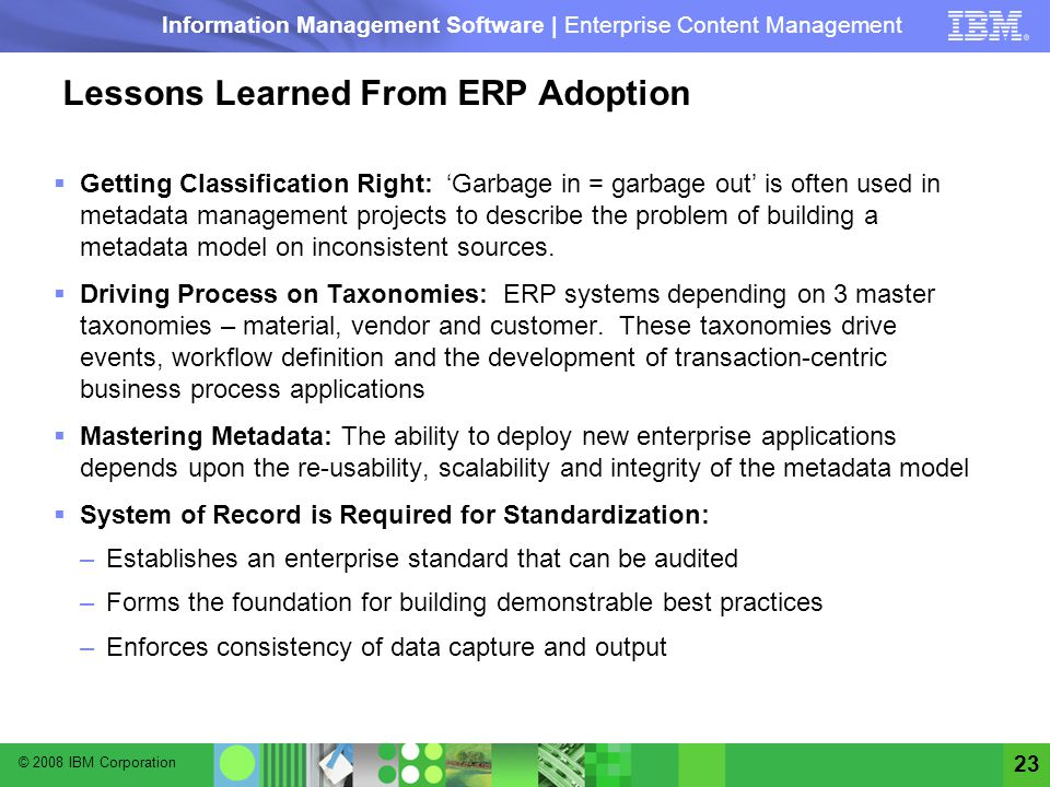 Lessons Learned From ERP Adoption