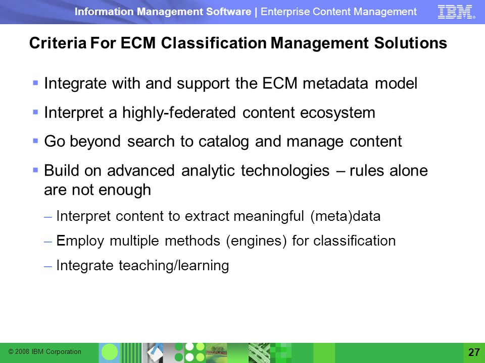 Criteria For ECM Classification Management Solutions
