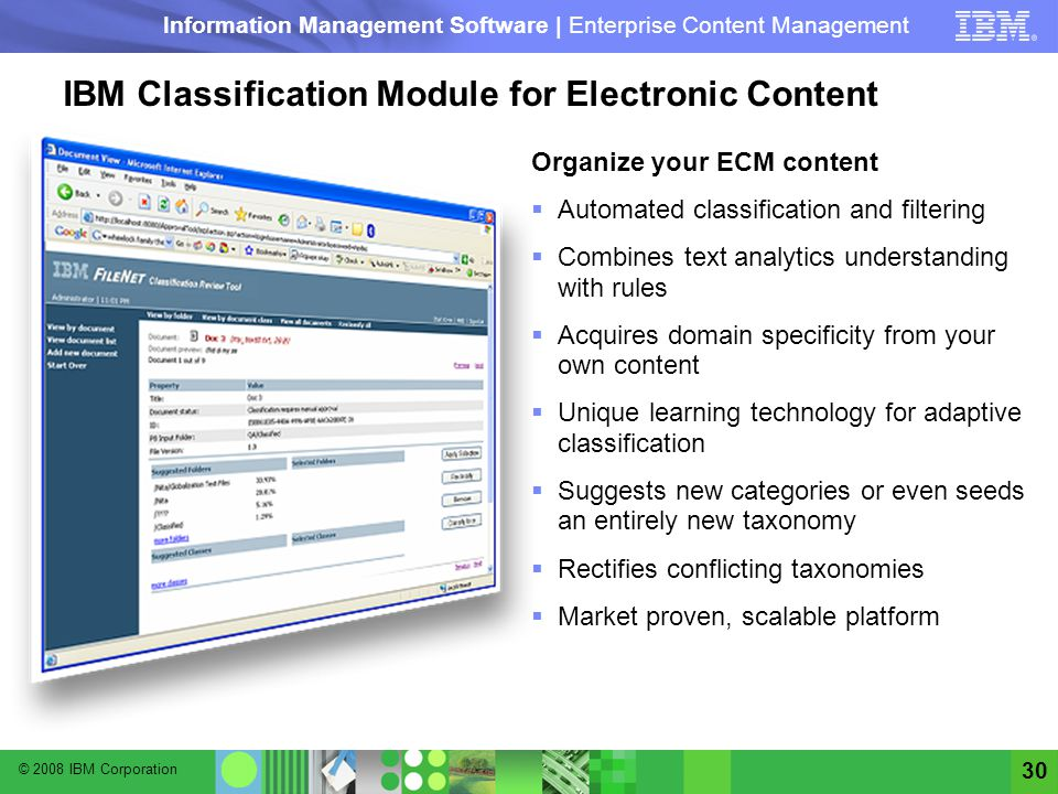 IBM Classification Module for Electronic Content