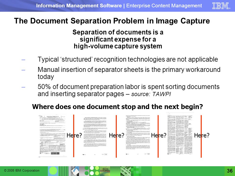 The Document Separation Problem in Image Capture