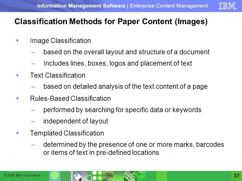 Classification Methods for Paper Content (Images)