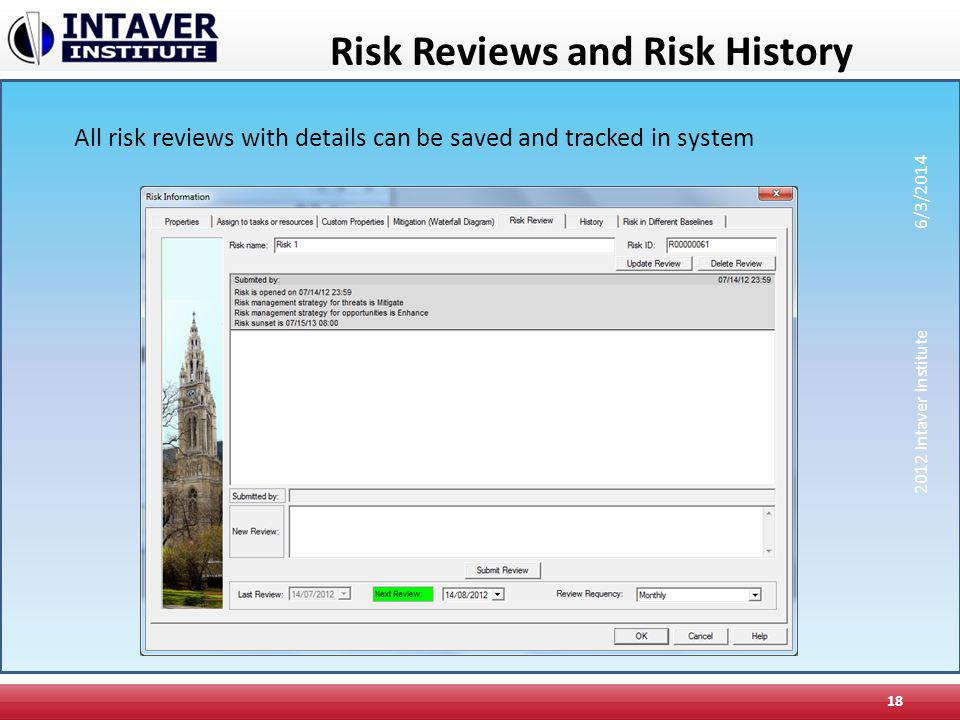 Risk Reviews and Risk History