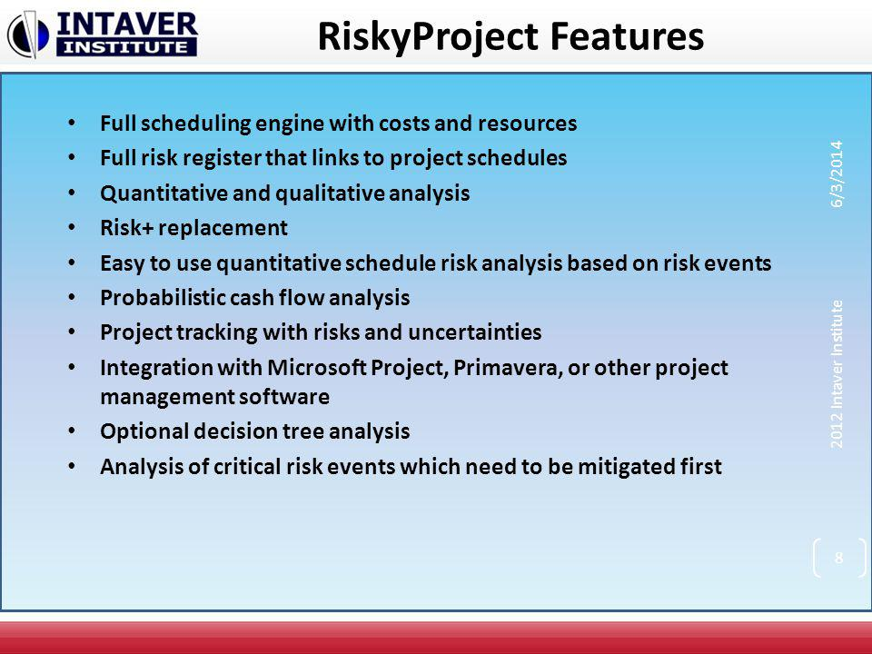 RiskyProject Features