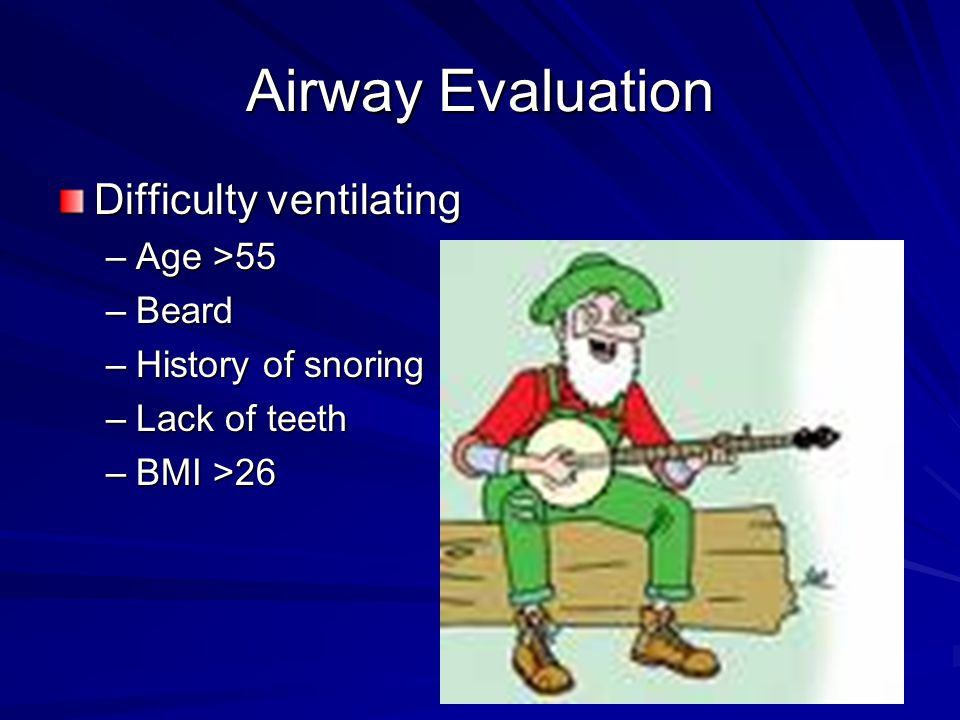 Airway Evaluation Difficulty ventilating Age >55 Beard