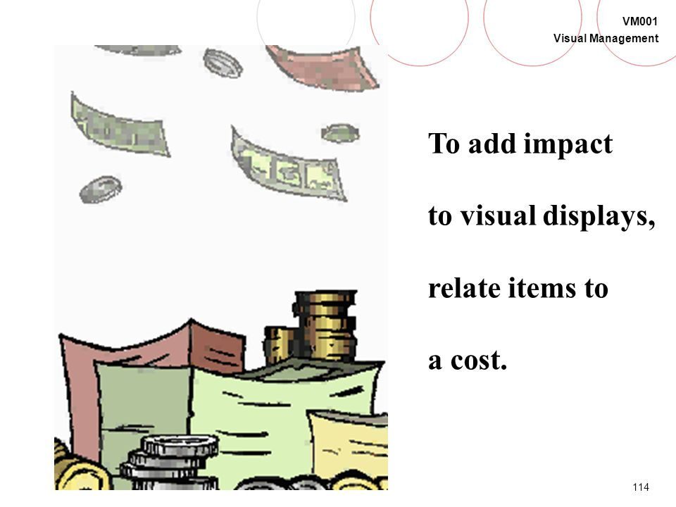 To add impact to visual displays, relate items to a cost.