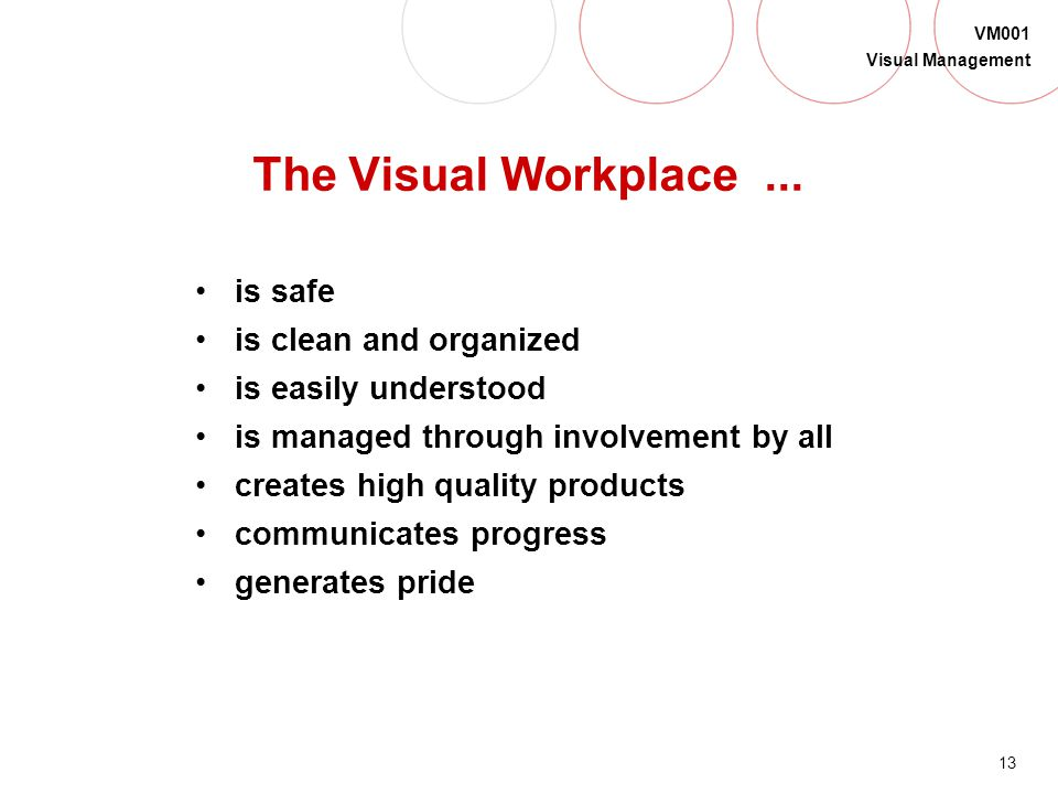 The Visual Workplace ... is safe is clean and organized