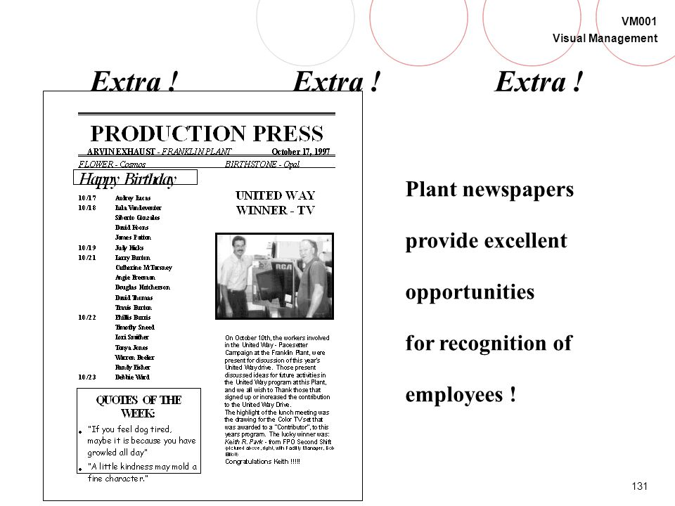Extra ! Extra ! Extra . Plant newspapers provide excellent opportunities.