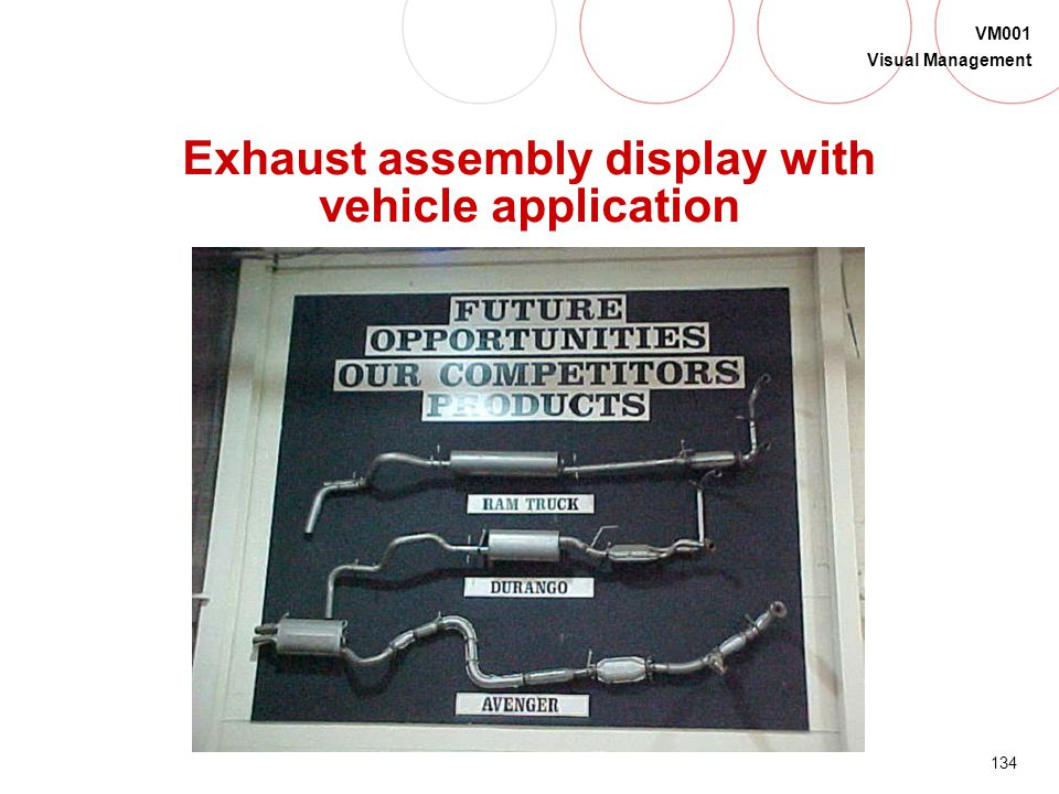 Exhaust assembly display with vehicle application