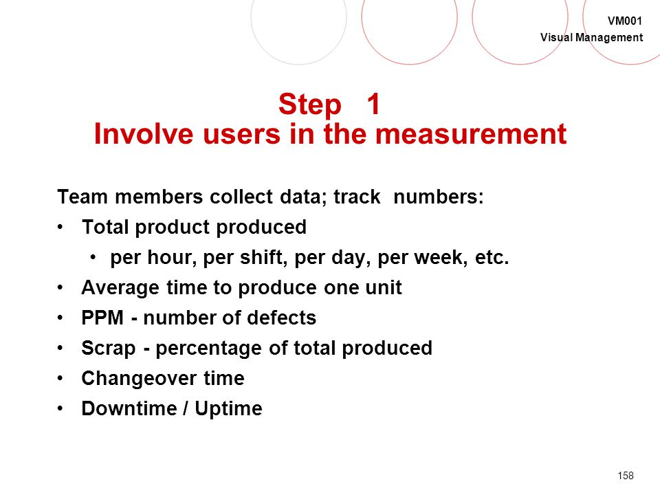 Step 1 Involve users in the measurement