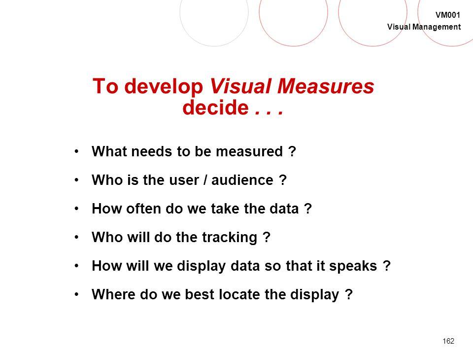To develop Visual Measures decide . . .
