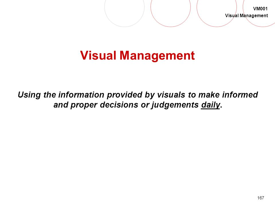 Visual Management Using the information provided by visuals to make informed and proper decisions or judgements daily.