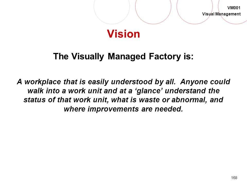 The Visually Managed Factory is: