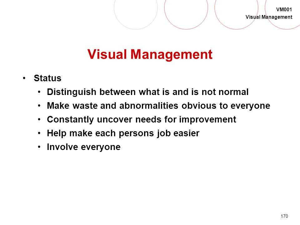 Visual Management Status Distinguish between what is and is not normal