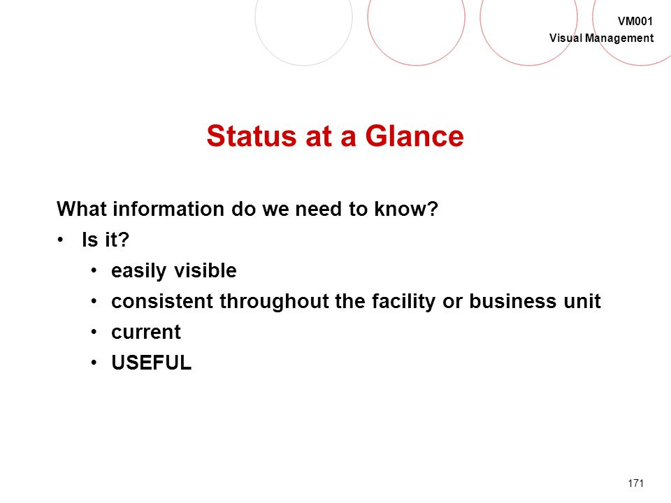 Status at a Glance What information do we need to know Is it