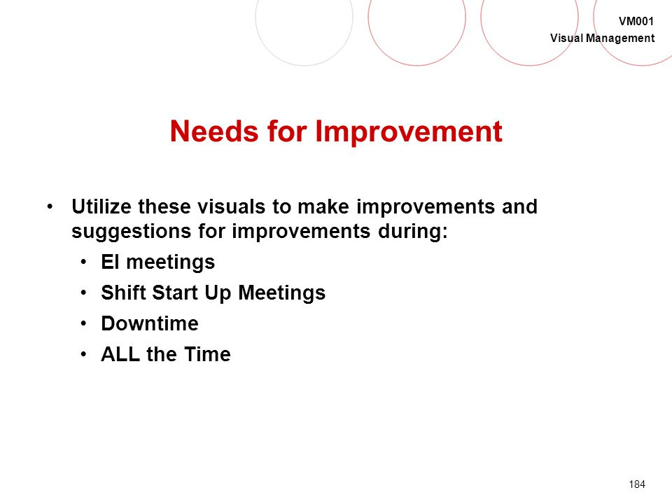 Needs for Improvement Utilize these visuals to make improvements and suggestions for improvements during: