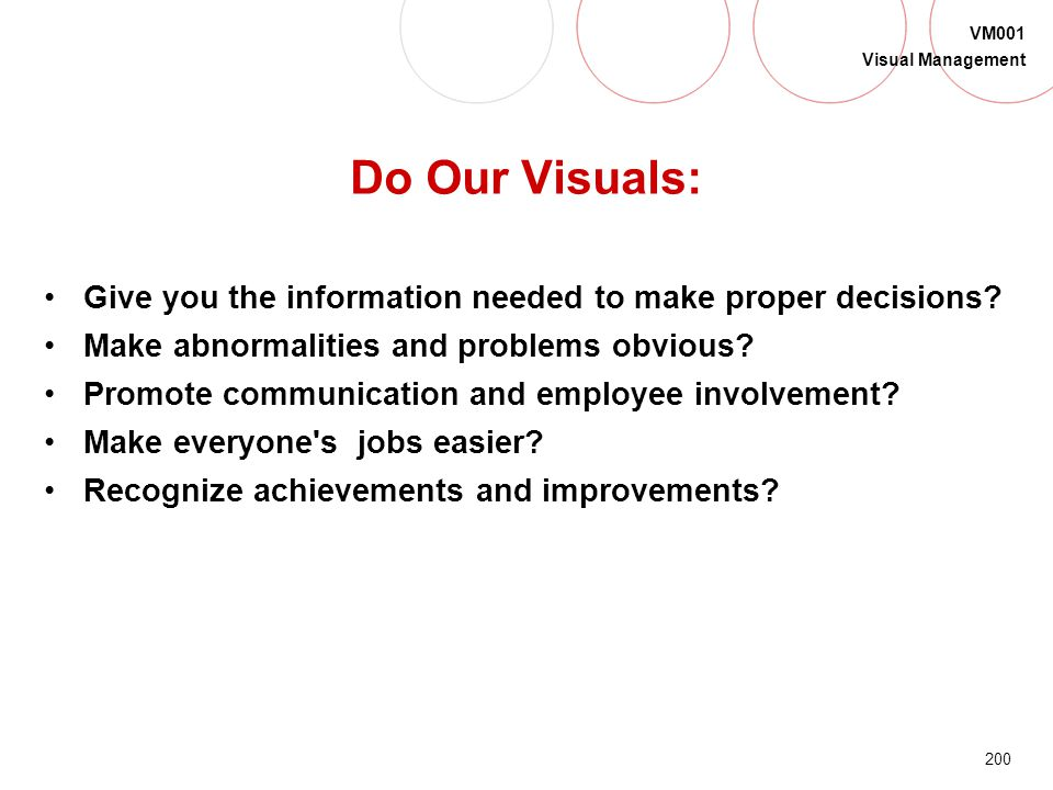 Do Our Visuals: Give you the information needed to make proper decisions Make abnormalities and problems obvious