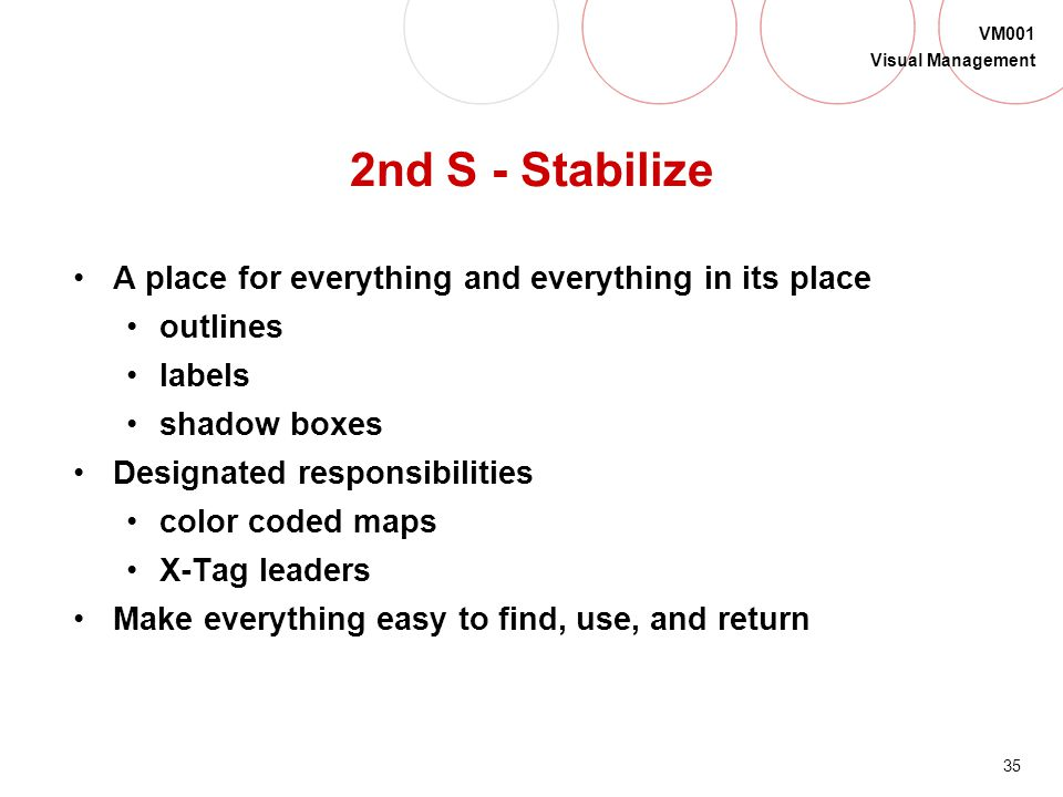 2nd S - Stabilize A place for everything and everything in its place