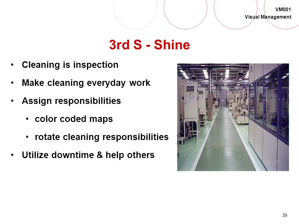 3rd S - Shine Cleaning is inspection Make cleaning everyday work