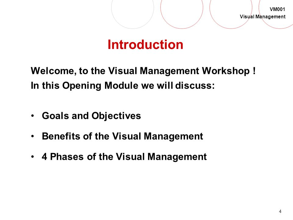 Introduction Welcome, to the Visual Management Workshop !