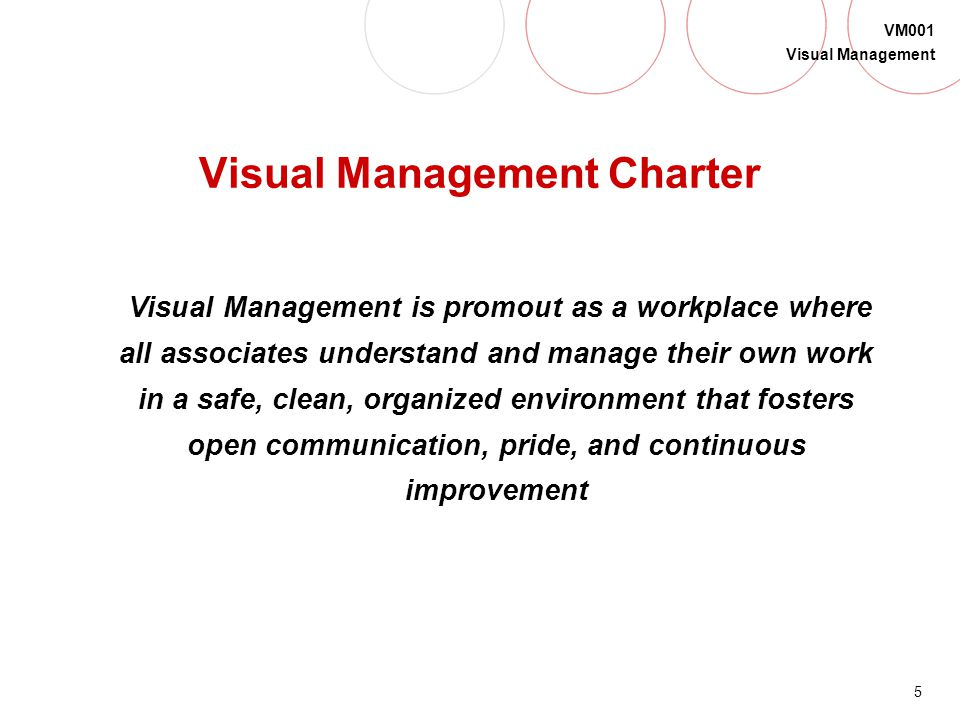 Visual Management Charter