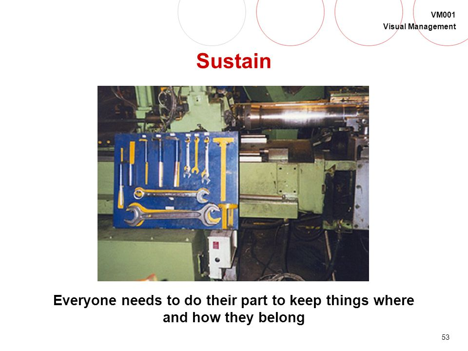 Sustain This is a simple shadow board that lets you know what is missing. It is important that everyone cooperates in sustaining.