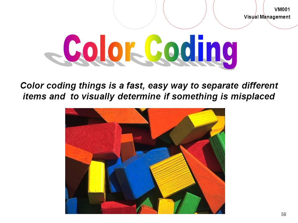 Color Coding Color coding things is a fast, easy way to separate different items and to visually determine if something is misplaced.