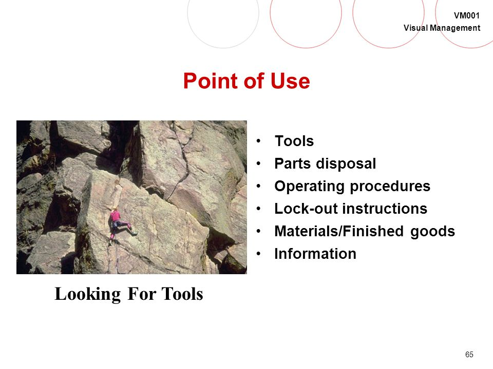 Point of Use Looking For Tools Tools Parts disposal