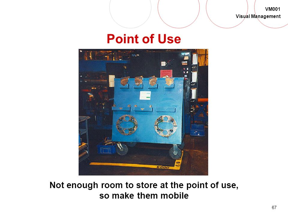 Not enough room to store at the point of use, so make them mobile