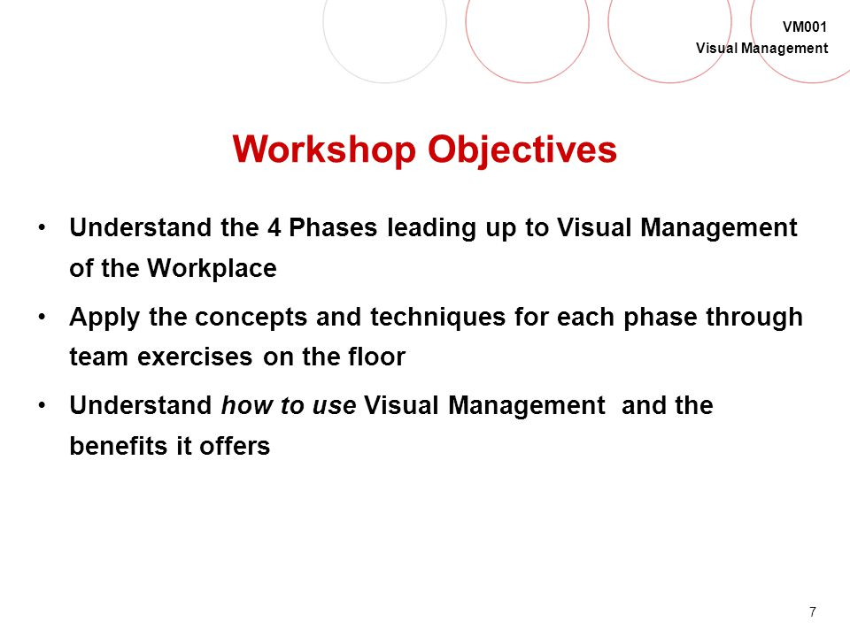 Workshop Objectives Understand the 4 Phases leading up to Visual Management of the Workplace.