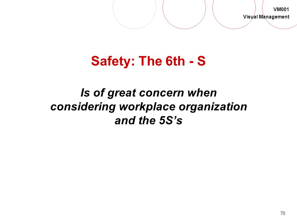 Safety: The 6th - S Is of great concern when considering workplace organization and the 5S's.
