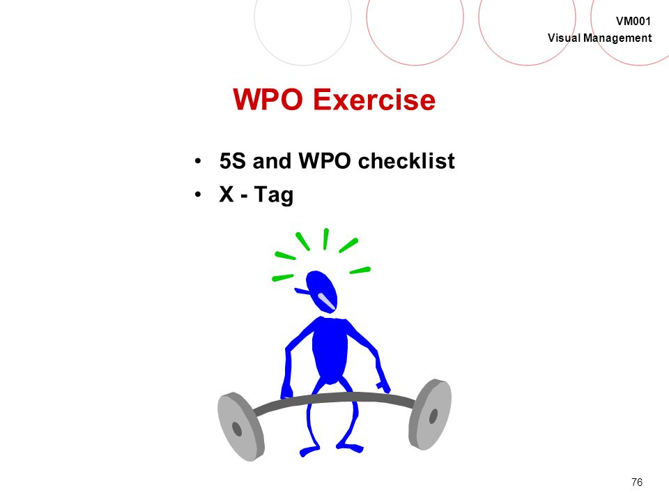 WPO Exercise 5S and WPO checklist X - Tag