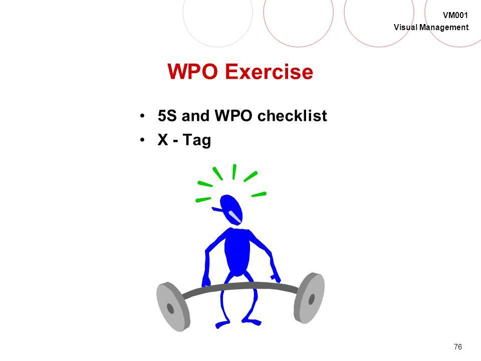 WPO Exercise 5S and WPO checklist X - Tag