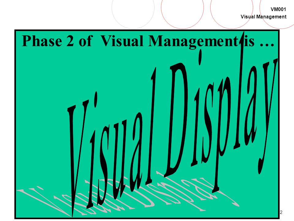 Phase 2 of Visual Management is …
