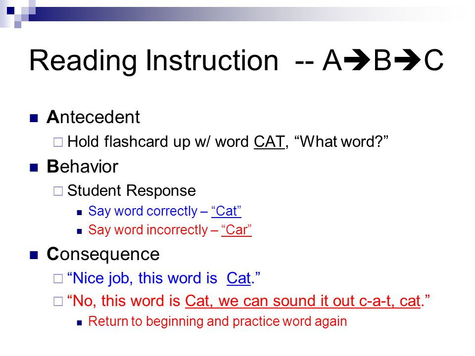 Reading Instruction -- ABC