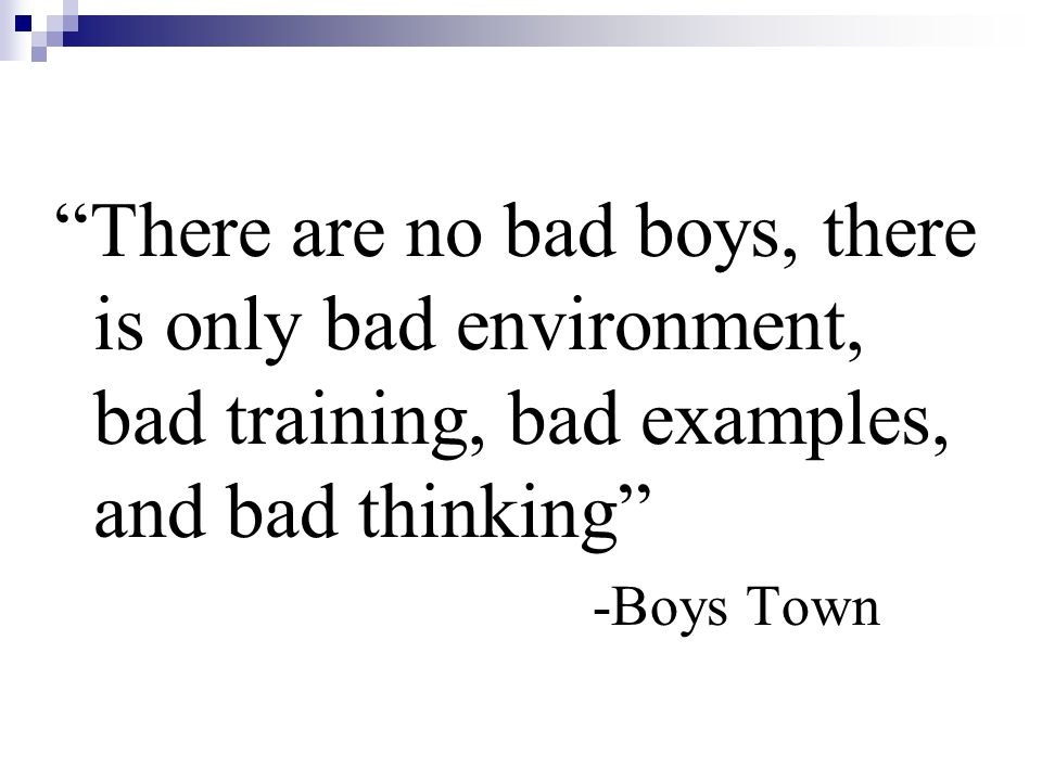 There are no bad boys, there is only bad environment, bad training, bad examples, and bad thinking