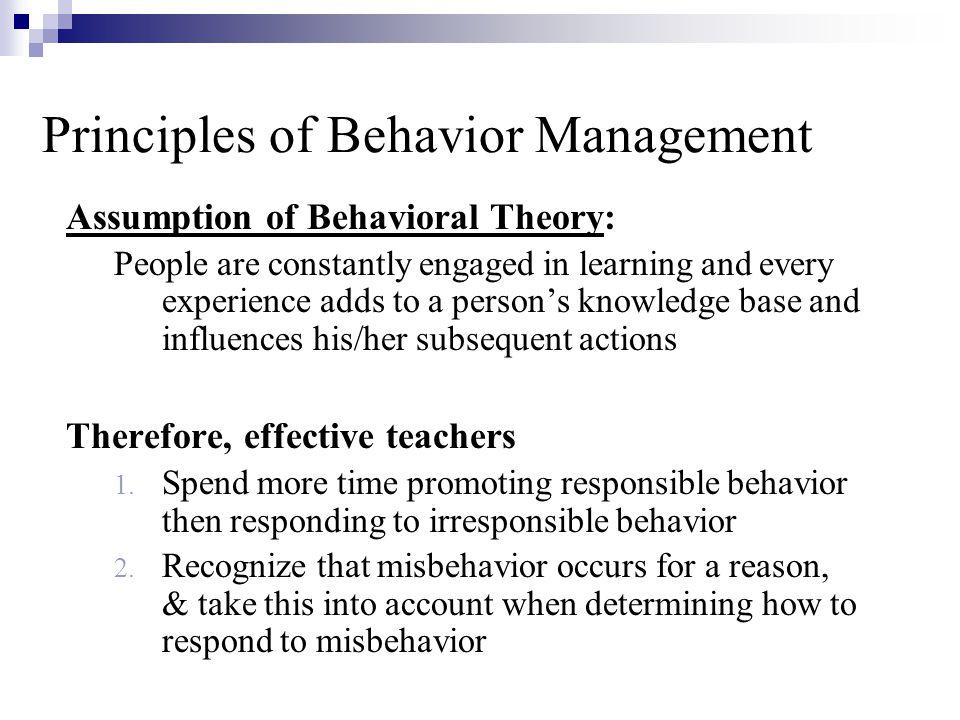 Principles of Behavior Management