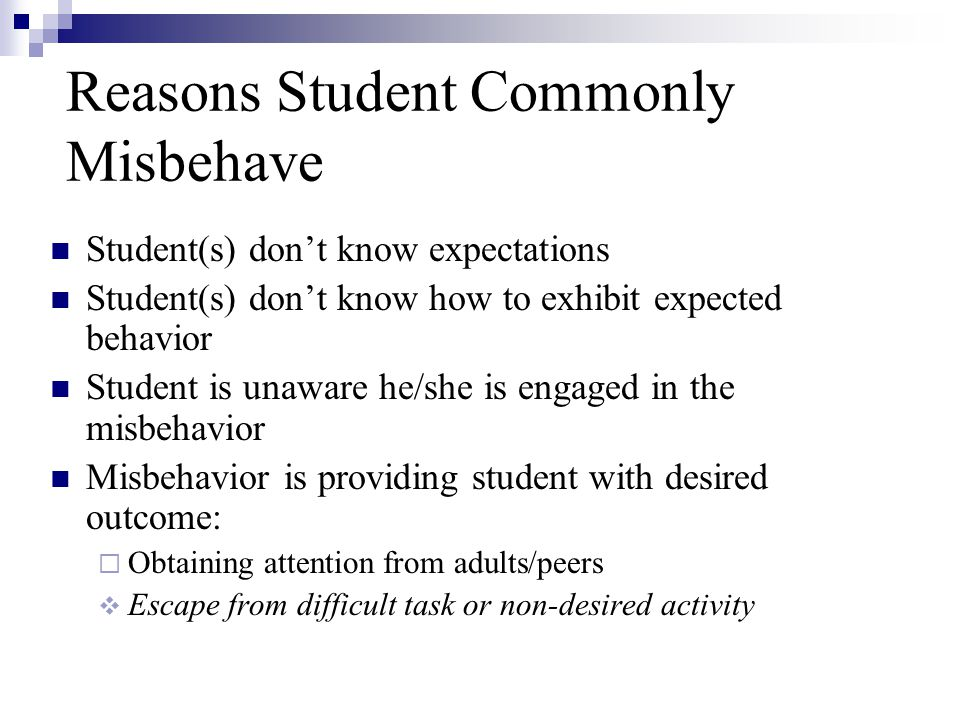 Reasons Student Commonly Misbehave