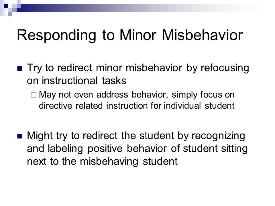 Responding to Minor Misbehavior
