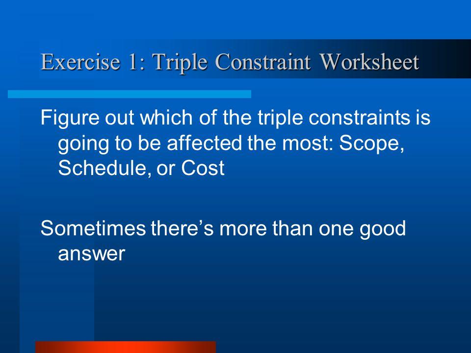 Exercise 1: Triple Constraint Worksheet