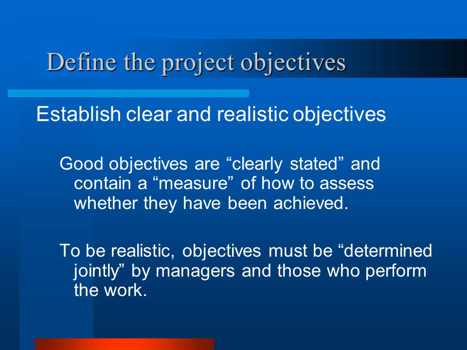 Define the project objectives