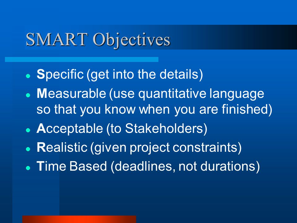 SMART Objectives Specific (get into the details)