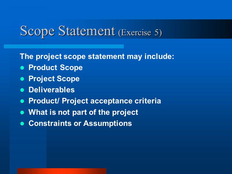 Scope Statement (Exercise 5)