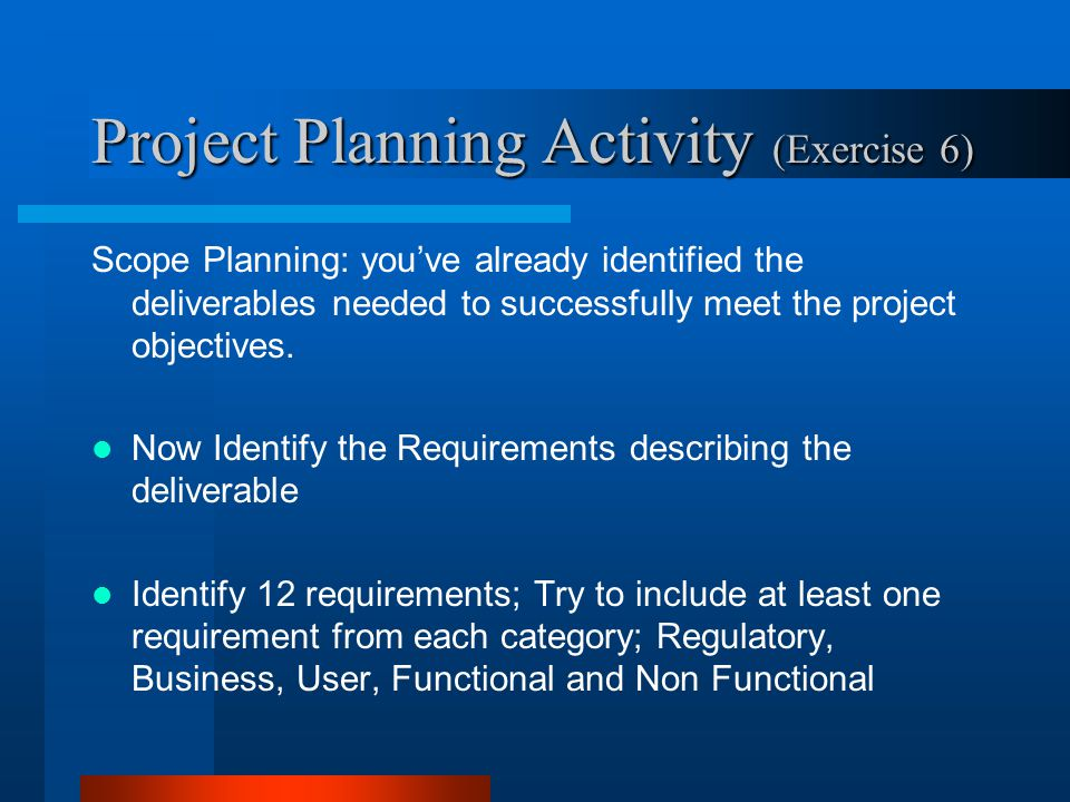 Project Planning Activity (Exercise 6)
