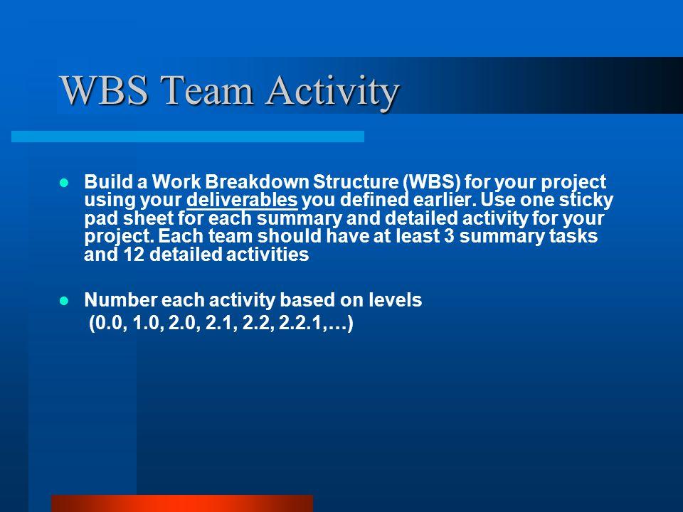 WBS Team Activity