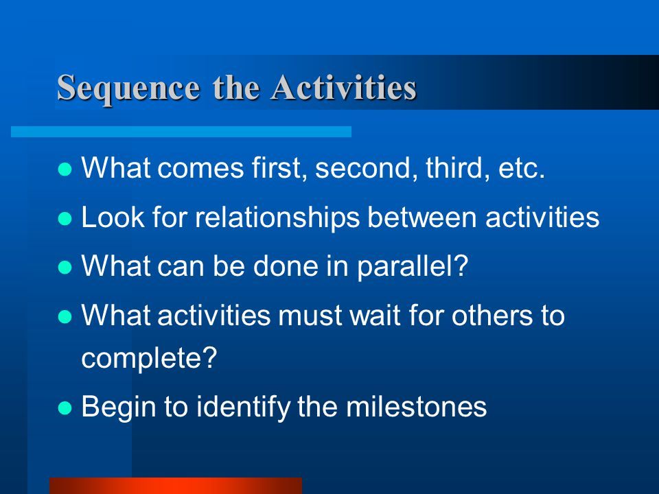 Sequence the Activities