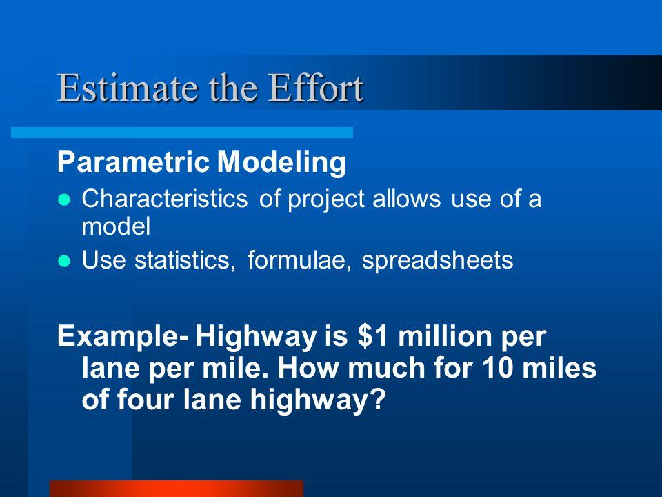 Estimate the Effort Parametric Modeling