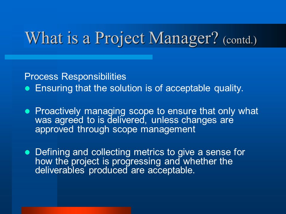 What is a Project Manager (contd.)