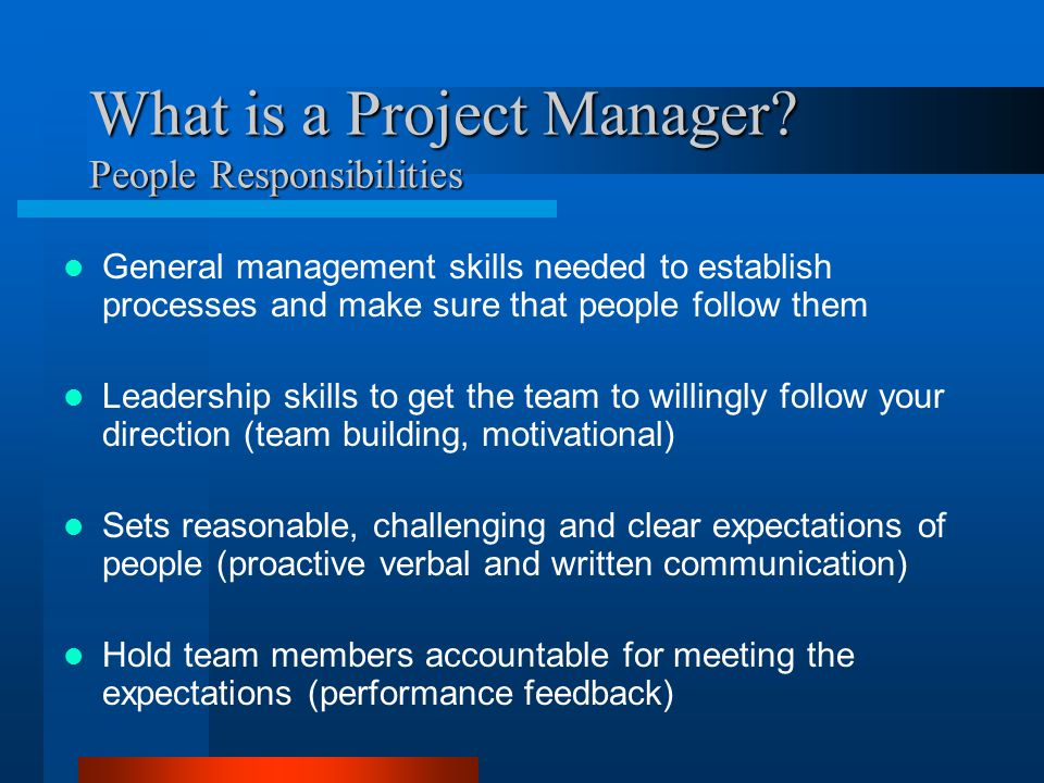 What is a Project Manager People Responsibilities