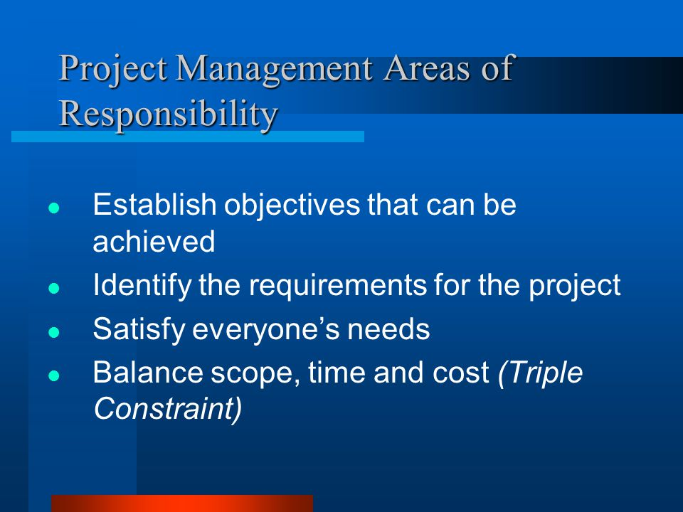 Project Management Areas of Responsibility