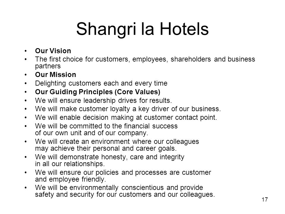 Shangri la Hotels Our Vision